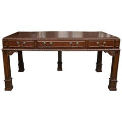 English Chippendale Style Mahogany Custom Bow Front Writing Table