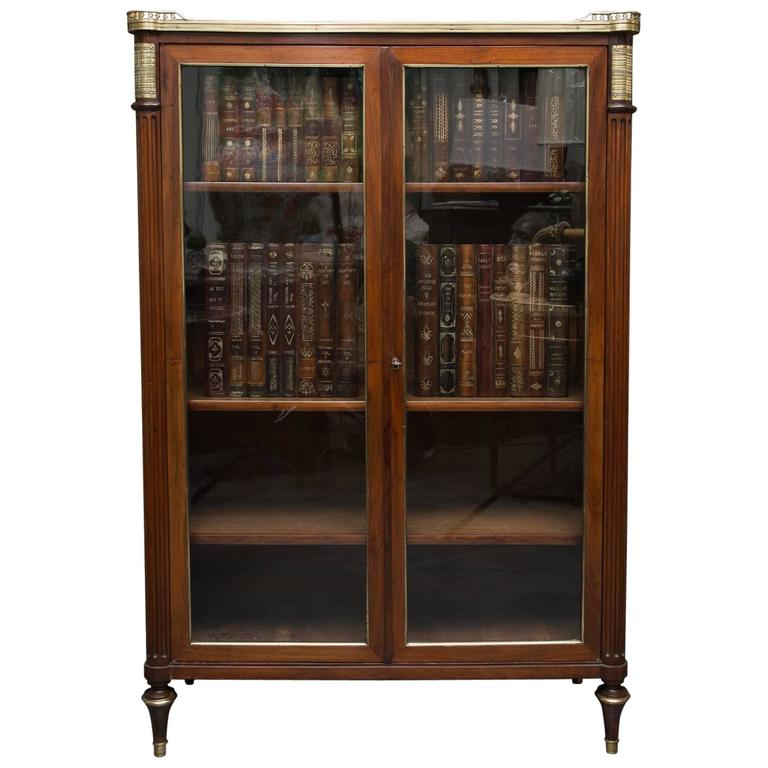 19th Century, Louis XVI Style Mahogany Bookcase For Sale