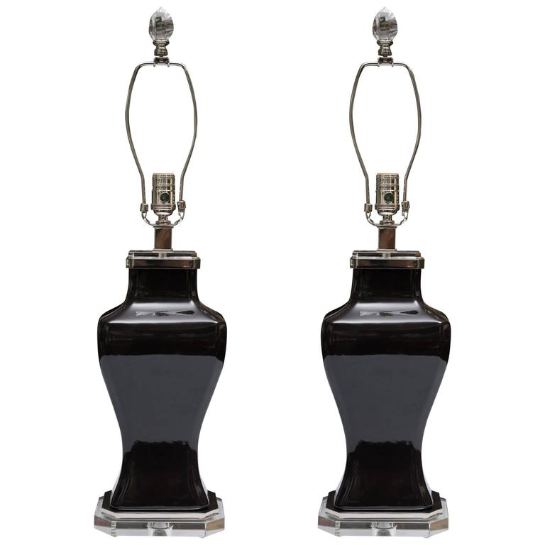 Pair of Contemporary Black Glazed and Lucite Lamps 1