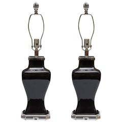 Pair of Contemporary Black Glazed and Lucite Lamps