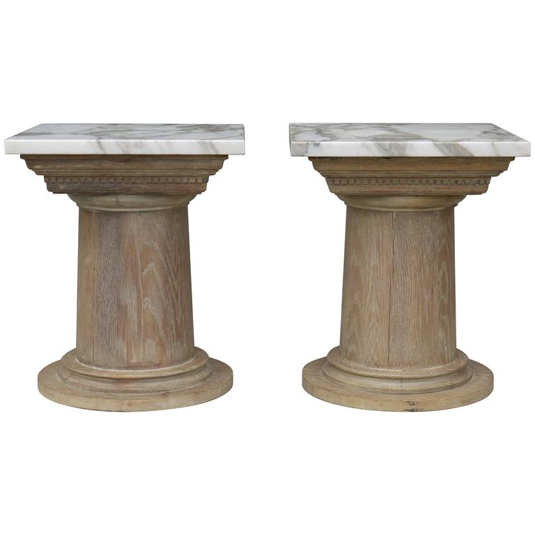 Pair of Vintage Cerused Oak Tapered Column Side Tables 1