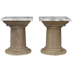 Pair of Vintage Cerused Oak Tapered Column Side Tables