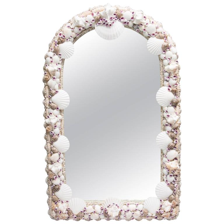 Domed Shell Encrusted Mirror For Sale