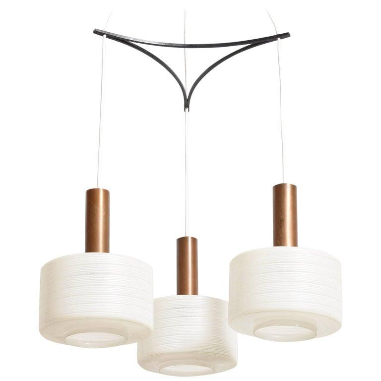 Glass-Brass Pendant Three-Light Cylinder White Stripe Shades, Tapio Wirkkala For Sale