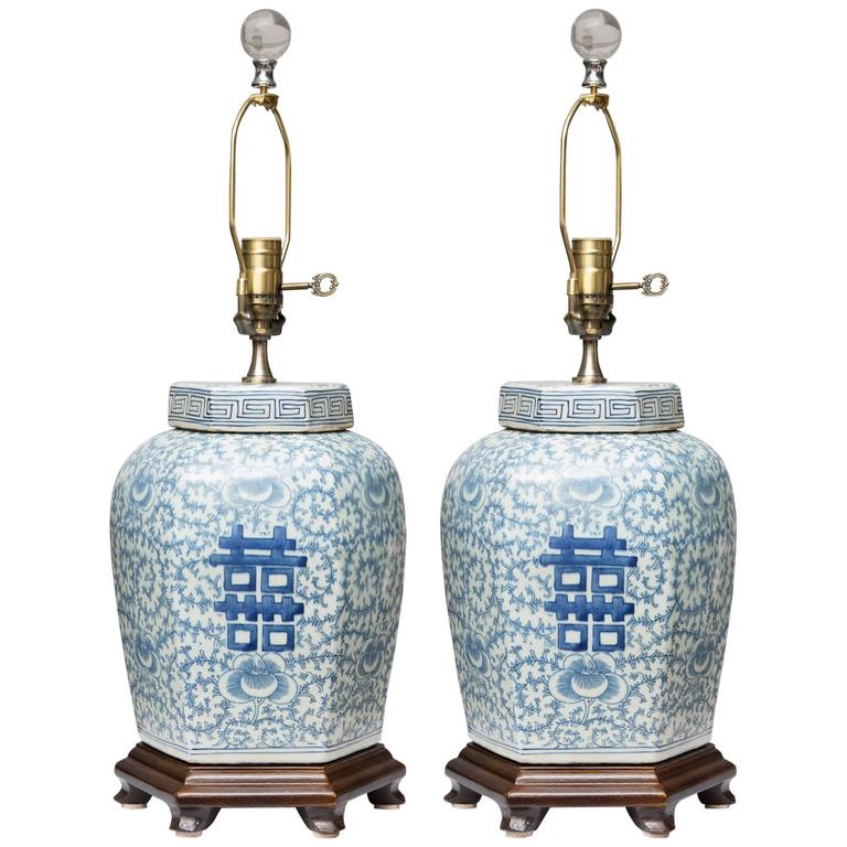 Pair of Hexagon Chinese Lidded Jars as Table Lamps 1