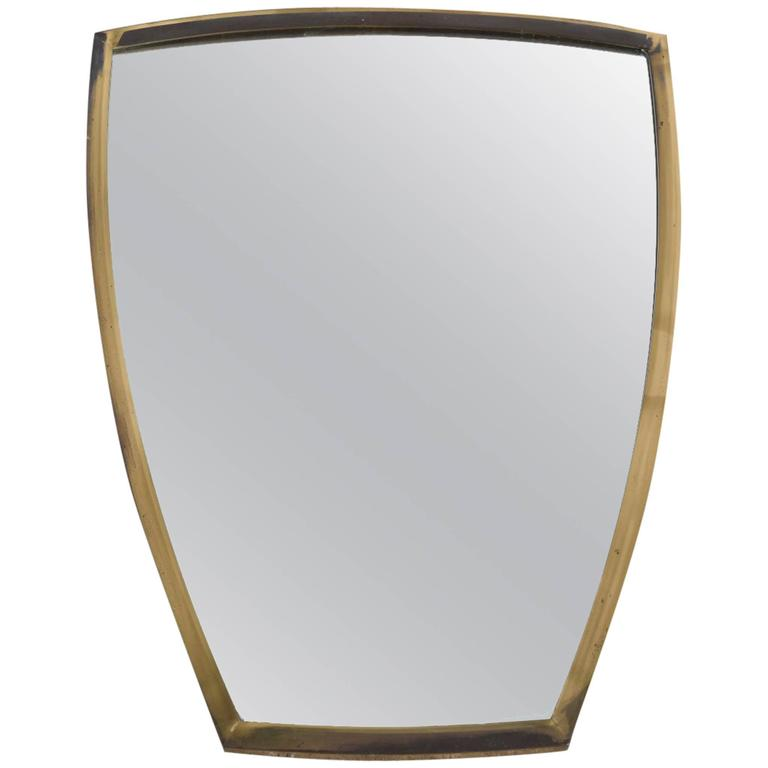 Brass Wall Mirror 1950s Scandinavian 1