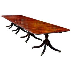 Regency Style Four Pedestal Solid Mahogany Dining Table with Figured Banding