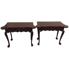 Period 1820s Irish Card / Tea Tables Solid Mahogany with Later Carvings