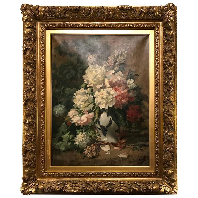 19th C Oil on Canvas Still-Life Flowers Signed Alfred Florent Duriau