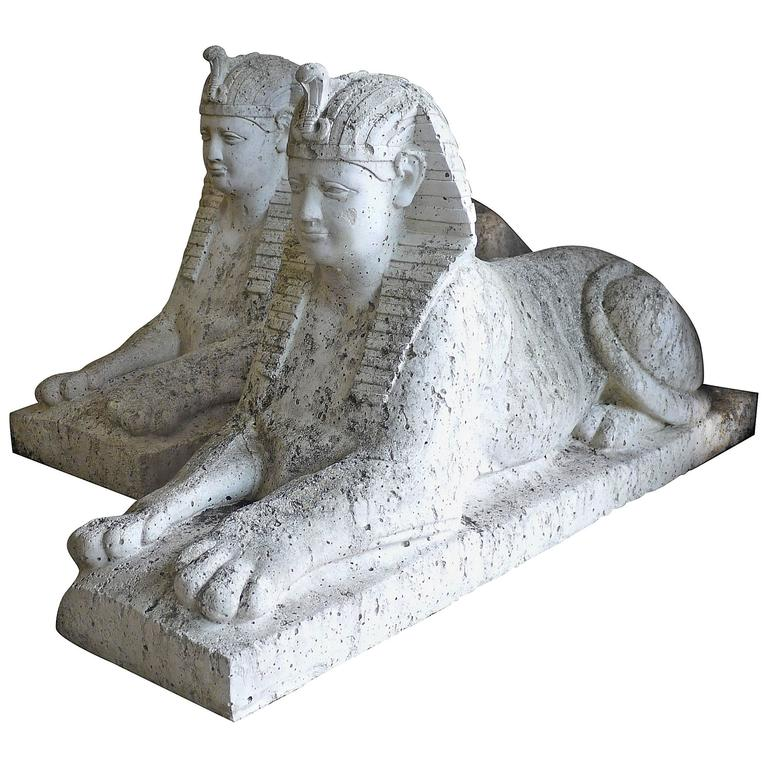 Pair of Cast Stone Sphinxes 1