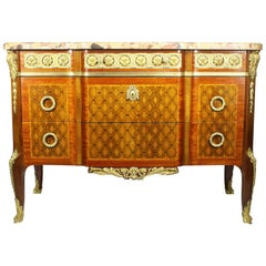 French 19th Century Finely Chased Ormolu Mounted Regence Style Marquetry Commode