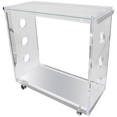 Rectangular Shaped Bespoke Bar Cart in Lucite and Mirror by Alexander Millen