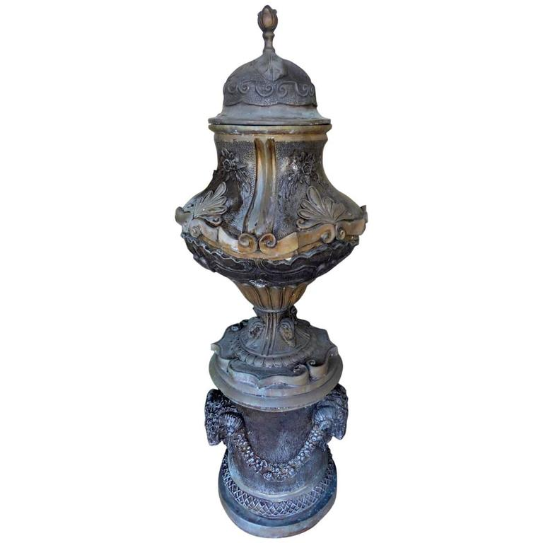 Monumental Bronze Garden Urn, Planter, or Jadiniere For Sale