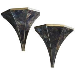 Pair of Maitland-Smith Faux Tortoiseshell Sconces