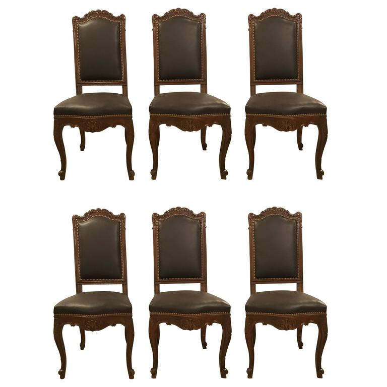 Set of Six Louis XV Style Brown Leather Carved Side Chairs