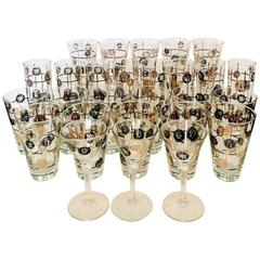"Mid-Century Modern Black & 22K Gold ""Coins"" Glass Drinks S/27"