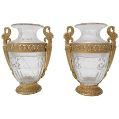 Pair of 19th Century French Empire Style Bronze and Crystal Vases