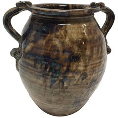 Hand Thrown Stoneware Art Studio Jar in Blue and Brown