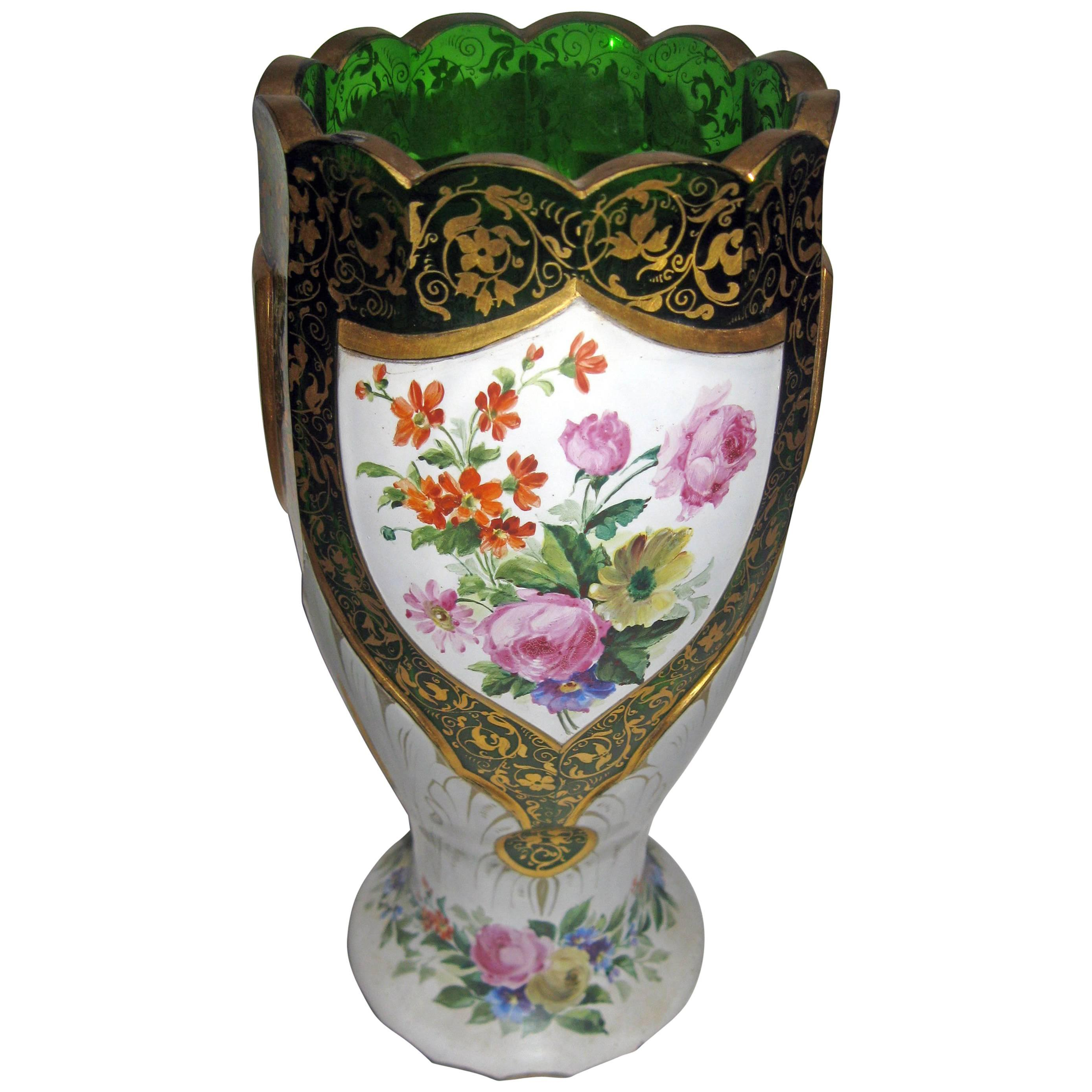 19th century Moser Green Bohemian Art Glass Overlay Vase with Roses