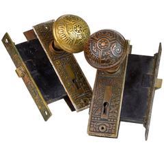 Corbin 'Ceylon' Cast Brass Door Knob Set, circa 1900