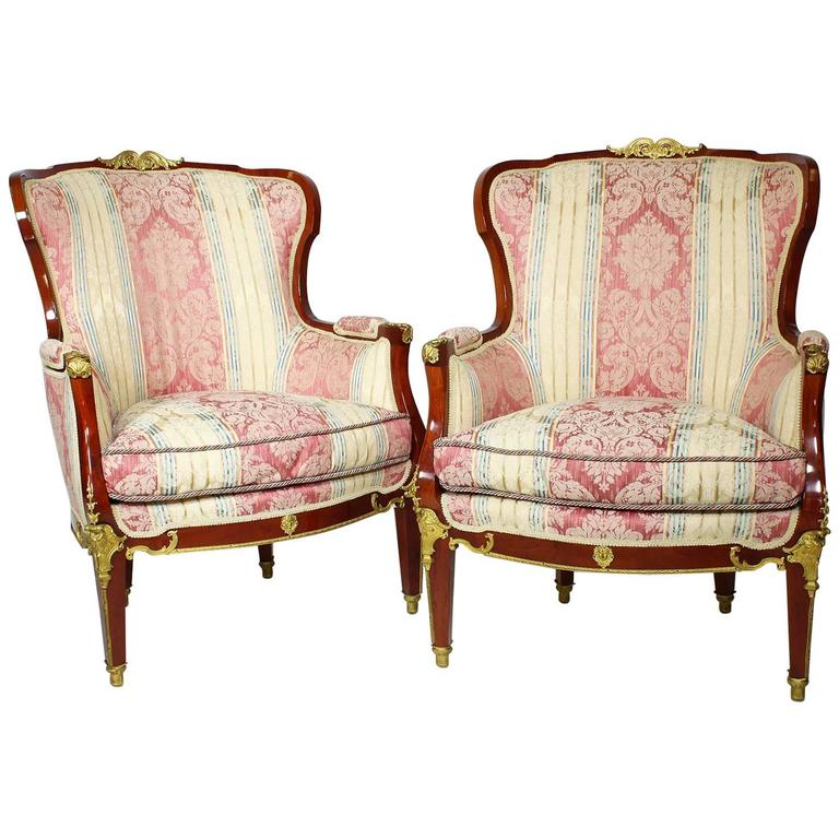 Pair of French Louis XVI Style Belle Époque Bergère Attributed to Jansen