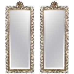Matched Pair of Large Vertical Bronze Mirrors Attributed to Pe Guerin