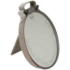 Suede Clad Frame Tabletop Mirror, 1920s