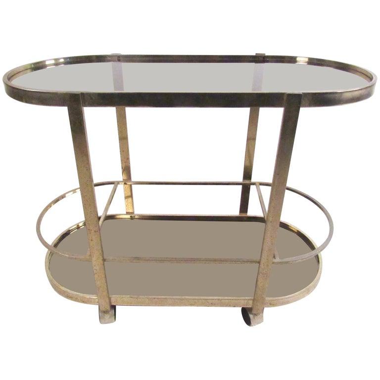 Vintage Modern Brass Bar Cart For Sale
