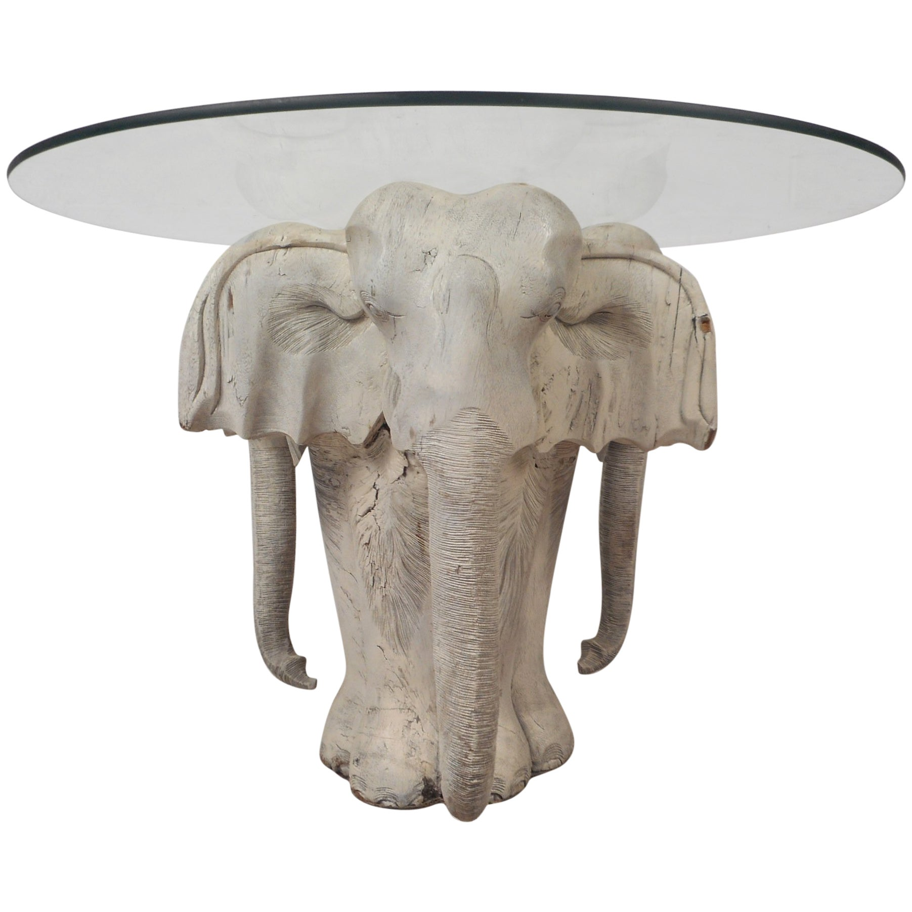 Mid-Century Modern Primitive Carved Wood Elephant Coffee Table