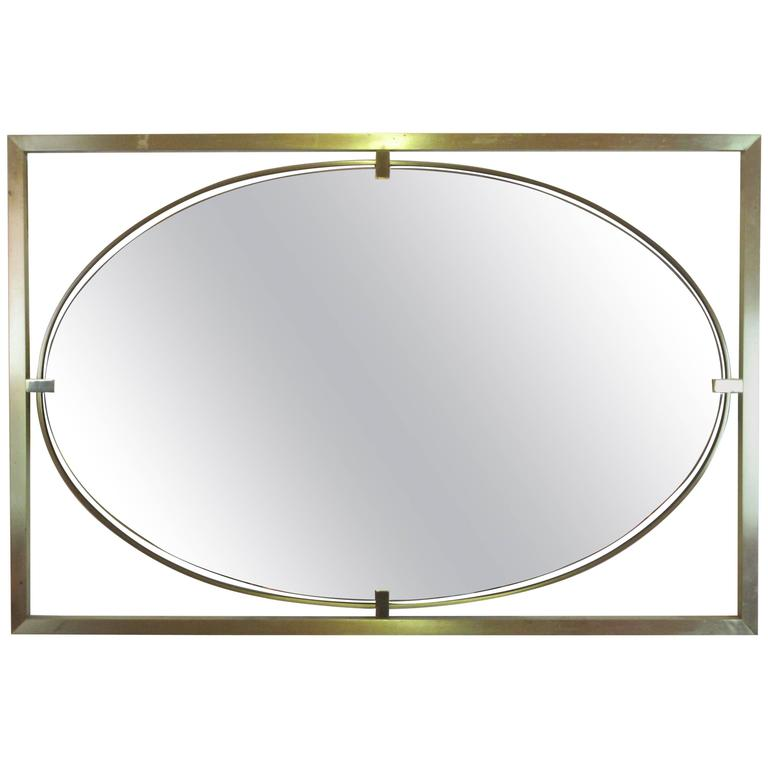 Rectangular Square Stock Br Frame With Oval Mirror For