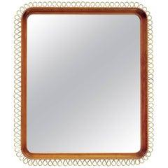 Scandinavian Modern Mahogany Mirror with Polished Brass Trim