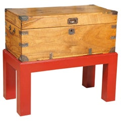 Anglo-Indian Teak Trunk on Red Lacquer Stand