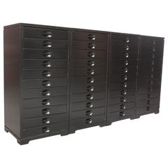 Set of Four Mid-Century American Modern Ebonized Specimen Cabinets