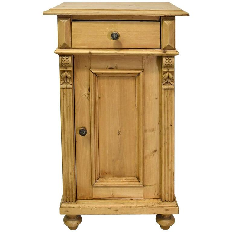 19th Century European Pine Nightstand With Carved