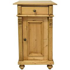 19th Century European Pine Nightstand with Carved Appliques and Fluted Pilasters