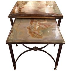 French Nest of Two Brass Tables with Marble Tops, Mid-20th Century