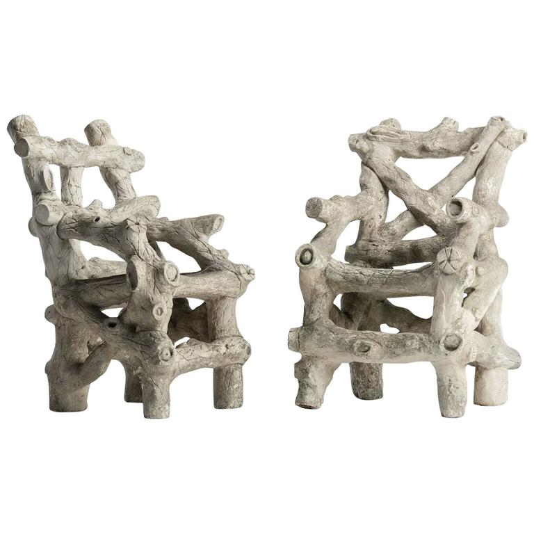 Pair of Cast Concrete Faux Bois Armchairs