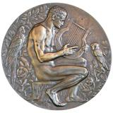 """Nude Orpheus with Owl and Parrot,"" Rare Art Deco Bronze Rondel"