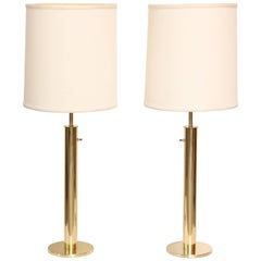 Pair of Slim Brass Cylindrical Laurel Table Lamps