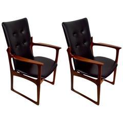 Pair of Teak and Vinyl Armchairs by Art Furn of Denmark