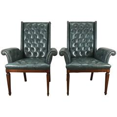 Stunning Blue Leather Button Tufted Regency Armchairs, Tommi Parzinger