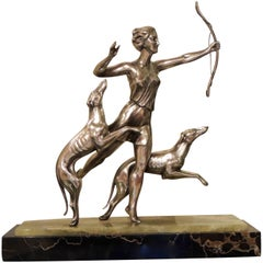 Art Deco Statue of Diana and Two Dogs in Silver