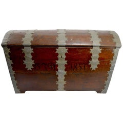 Large Dome Top Trunk, Dated 1857