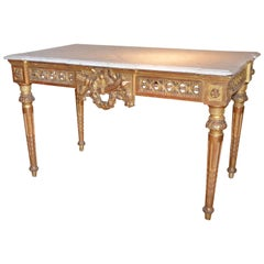 Freestanding Russian Giltwood Louis XVI Table with a Marble Top