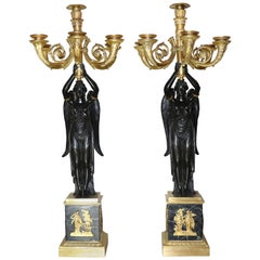Pair of Empire Gilt Bronze Candelabra Attributed to Pierre Victor Ledure