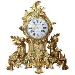 Rococo Gilt Bronze Mantle Clock Dehemant / Duplessis