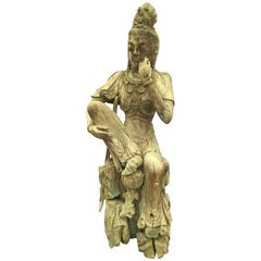 19th Century Chinese Guan Yin Carved Wooden Sculpture