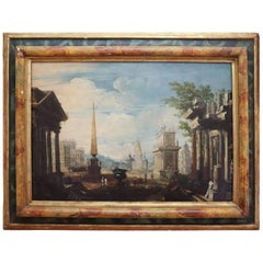 Italian Late 17th Century Capriccio Painting Original Canvas Orignal Frame