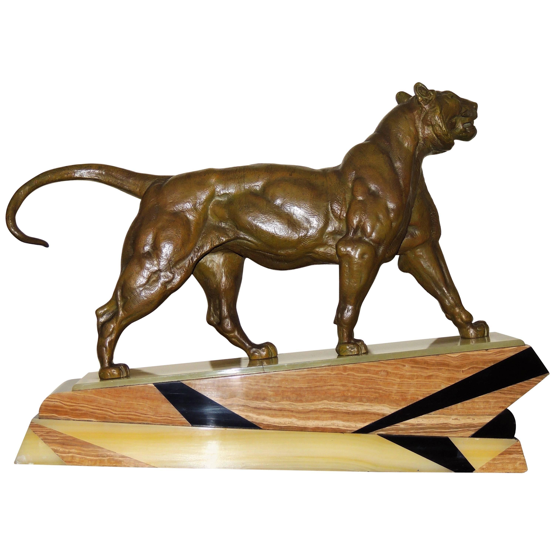 Bronze Art Deco Lion Sculpture