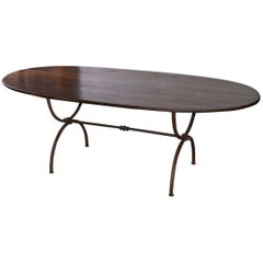 Oval Metal Base and Wood Top Dining Table